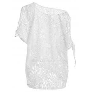 Cold Shoulder Batwing Beach Tunic Dress Cover Up - WHITE ONE SIZE
