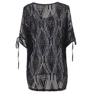 Cold Shoulder Batwing Beach Tunic Dress Cover Up - BLACK ONE SIZE