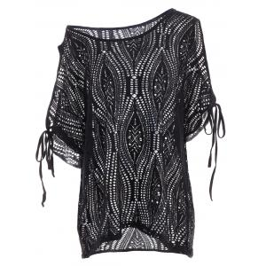 Cold Shoulder Batwing Beach Tunic Dress Cover Up - Black - One Size
