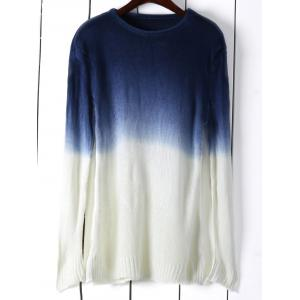 Round Neck Long Sleeve Ombre Color Jumper