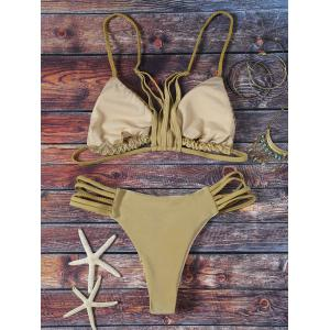 Fashion Spaghetti Straps Solid Color Mesh Bikini Set For Women - GREY OLIVE L