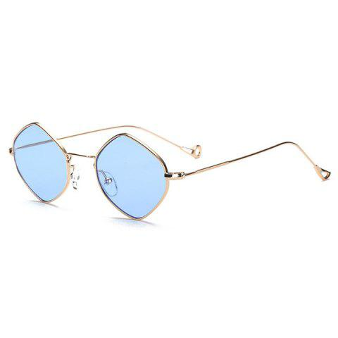 Hollow Out Legs Rhombus Mirrored Sunglasses - Golden+ice Blue