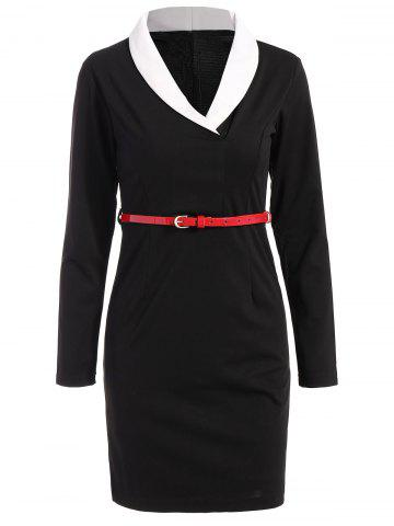 Best Belted Shawl Collar Sheath Long Sleeve Work Dress WHITE AND BLACK 2XL