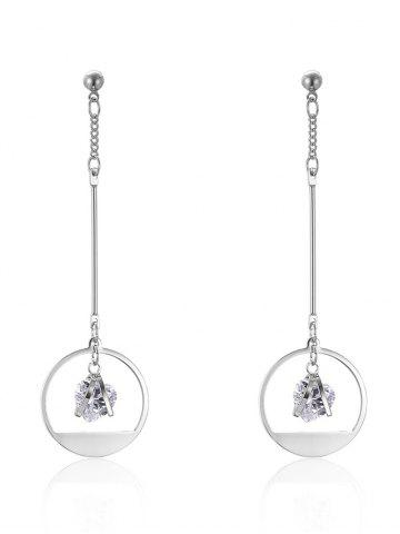 Outfit Circle Heart Rhinestone Drop Earrings SILVER