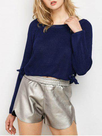 Lace Up Pullover Jumper - Purplish Blue - One Size