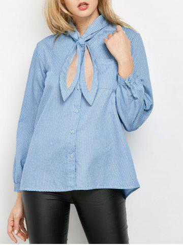 Striped Pockets Loose Shirt - Blue - M