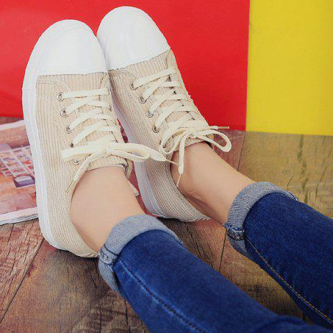 Latest Lace Up Round Toe Canvas Sneakers - 37 BEIGE Mobile