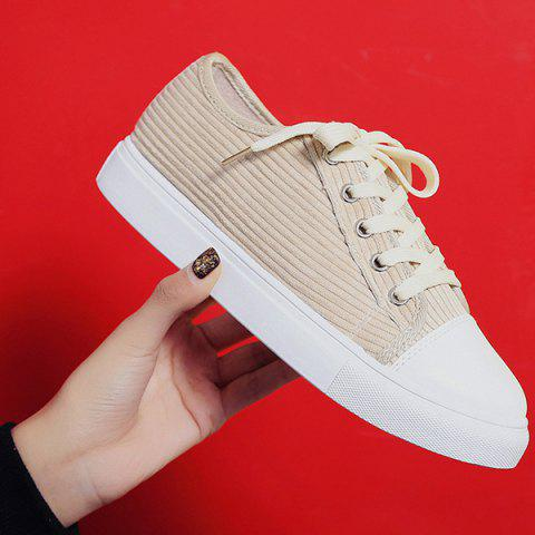 Hot Lace Up Round Toe Canvas Sneakers - 37 BEIGE Mobile