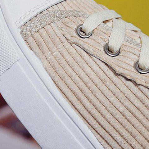 Shops Lace Up Round Toe Canvas Sneakers - 37 BEIGE Mobile