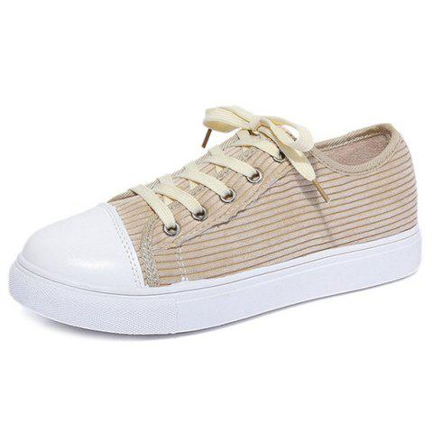 Fashion Lace Up Round Toe Canvas Sneakers - 37 BEIGE Mobile