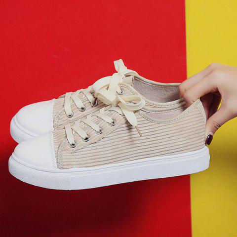 Outfits Lace Up Round Toe Canvas Sneakers - 37 BEIGE Mobile