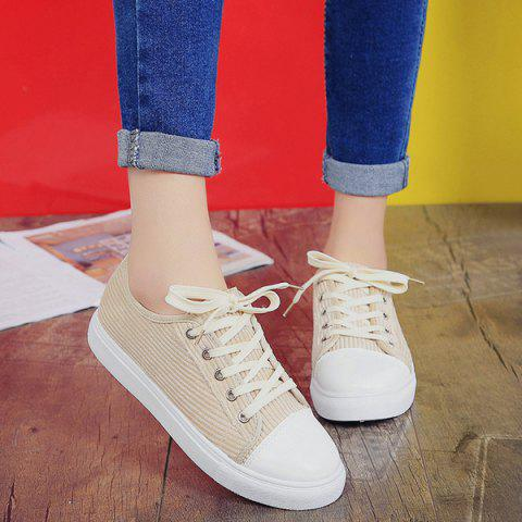 Online Lace Up Round Toe Canvas Sneakers - 37 BEIGE Mobile