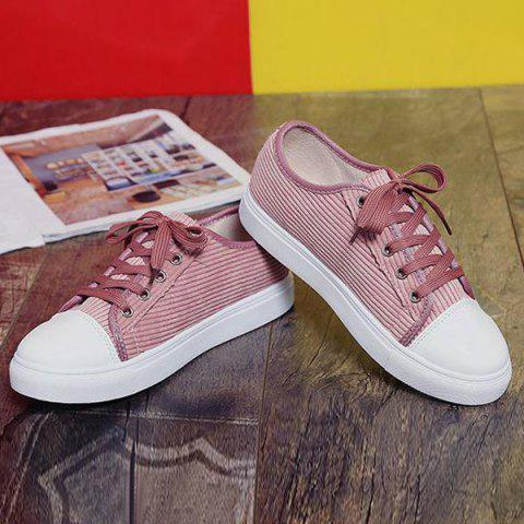 Unique Lace Up Round Toe Canvas Sneakers - 38 PINK Mobile
