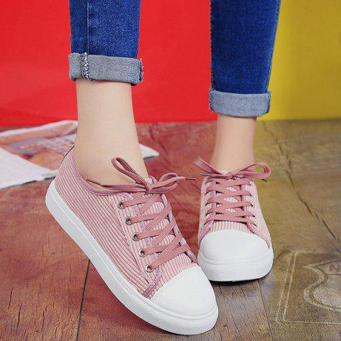 Shops Lace Up Round Toe Canvas Sneakers - 38 PINK Mobile