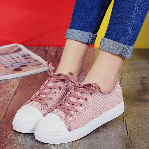 Outfit Lace Up Round Toe Canvas Sneakers - 38 PINK Mobile