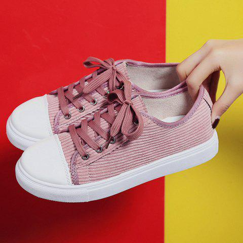 Store Lace Up Round Toe Canvas Sneakers - 38 PINK Mobile