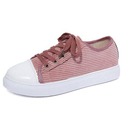 Fashion Lace Up Round Toe Canvas Sneakers - 38 PINK Mobile
