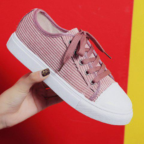 Shop Lace Up Round Toe Canvas Sneakers - 38 PINK Mobile
