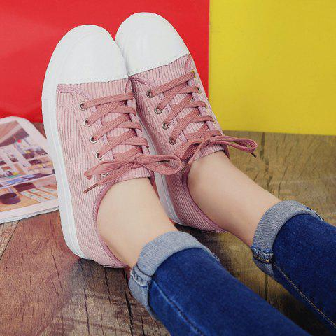 Chic Lace Up Round Toe Canvas Sneakers - 38 PINK Mobile