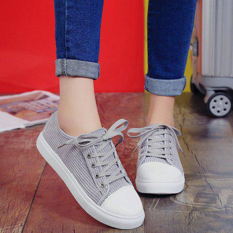 Shop Lace Up Round Toe Canvas Sneakers - 38 GRAY Mobile