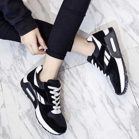 Best Color Block Breathable Suede Sneakers - 40 BLACK Mobile