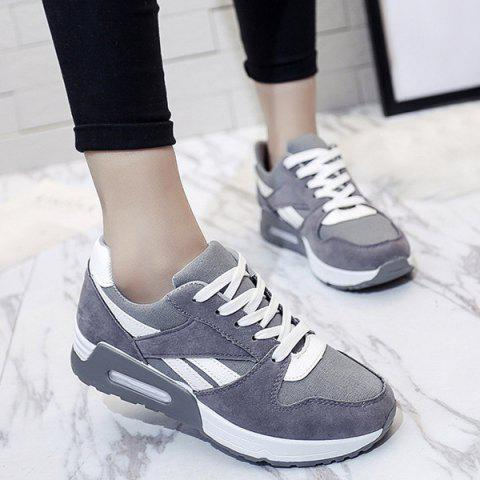 Best Color Block Breathable Suede Sneakers - 37 GRAY Mobile