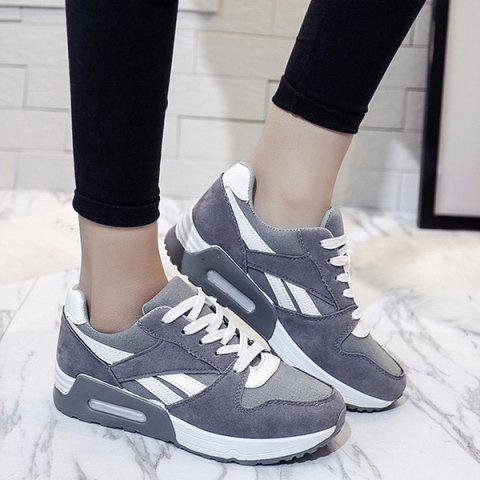 Latest Color Block Breathable Suede Sneakers - 37 GRAY Mobile