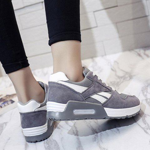 Fancy Color Block Breathable Suede Sneakers - 37 GRAY Mobile