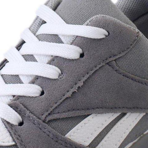 Hot Color Block Breathable Suede Sneakers - 37 GRAY Mobile