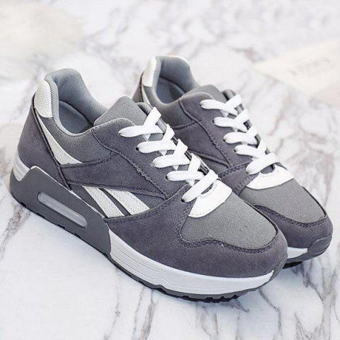 Trendy Color Block Breathable Suede Sneakers - 37 GRAY Mobile