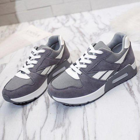 Buy Color Block Breathable Suede Sneakers - 37 GRAY Mobile