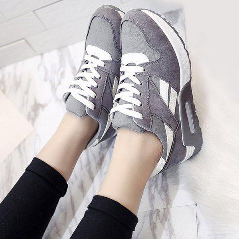 Buy Color Block Breathable Suede Sneakers - 40 GRAY Mobile