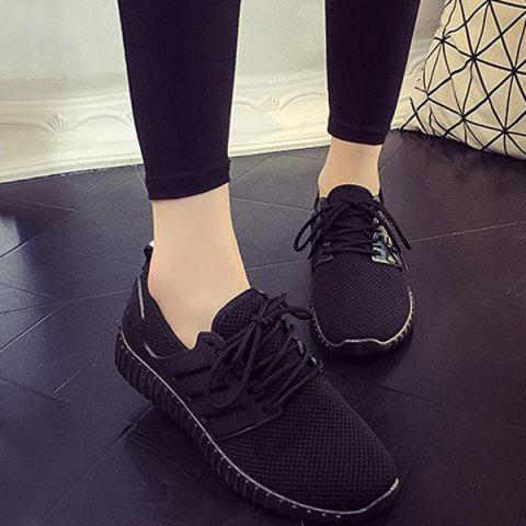 Discount Breathable Mesh Letter Pattern Athletic Shoes BLACK 39