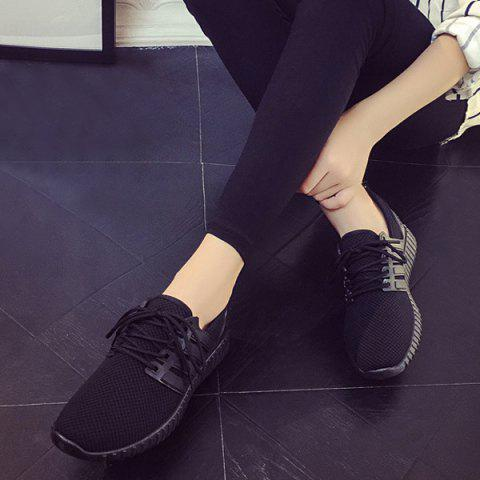 New Breathable Mesh Letter Pattern Athletic Shoes - 40 BLACK Mobile
