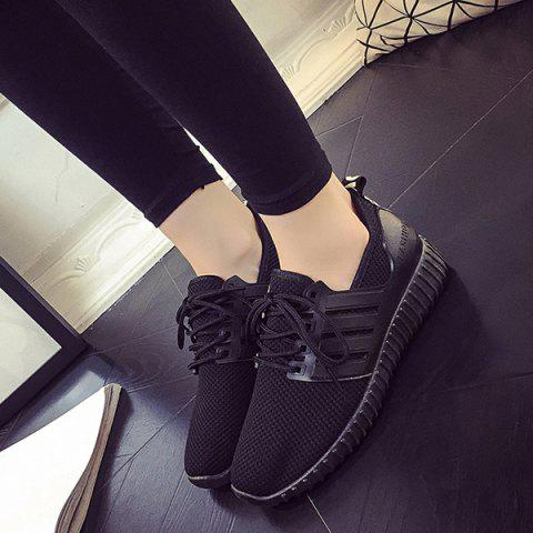 Store Breathable Mesh Letter Pattern Athletic Shoes - 40 BLACK Mobile