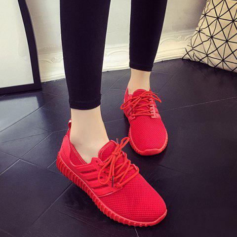 New Breathable Mesh Letter Pattern Athletic Shoes RED 40