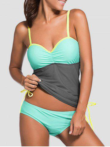 Underwire Padded Color Block Push Up Tankini Swimsuit - Gray - L
