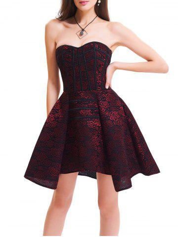 Hot Short Skater Lace Up Strapless Corset Dress WINE RED M