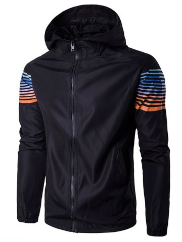 Buy Hooded Ombre Stripe Raglan Sleeve Jacket BLACK L