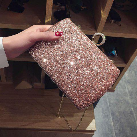 Trendy Sequins Glitter Evening Bag - PINK  Mobile