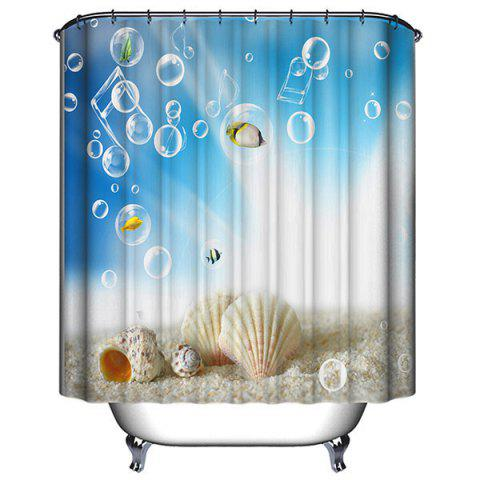 Fashion Thicken 3D Shell Water Repellent Shower Curtain - 180*200CM LAKE BLUE Mobile