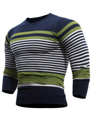 V Neck Stripes Pullover Jumper - Green - L