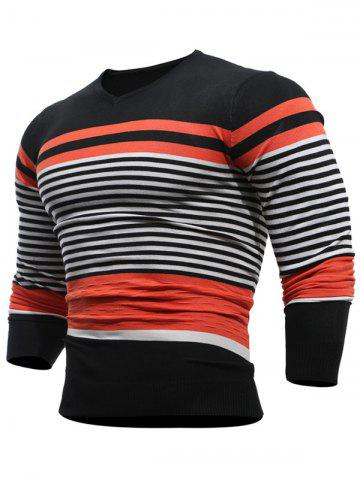 V Neck Stripes Pullover Jumper Tangerine L