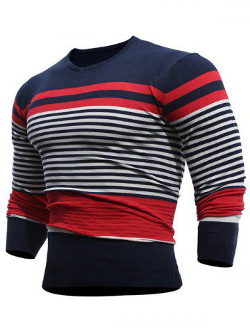 V Neck Stripes Pullover Jumper Rouge vineux  L