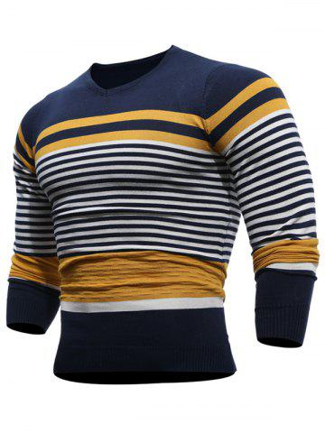 Cheap V Neck Stripes Pullover Jumper - XL YELLOW Mobile