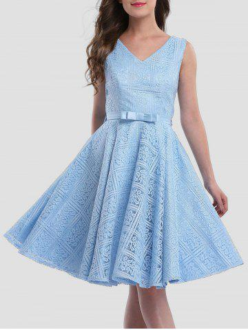 Unique Lace Sleeveless Wedding Guest Knee Length Dress - S ICE BLUE Mobile