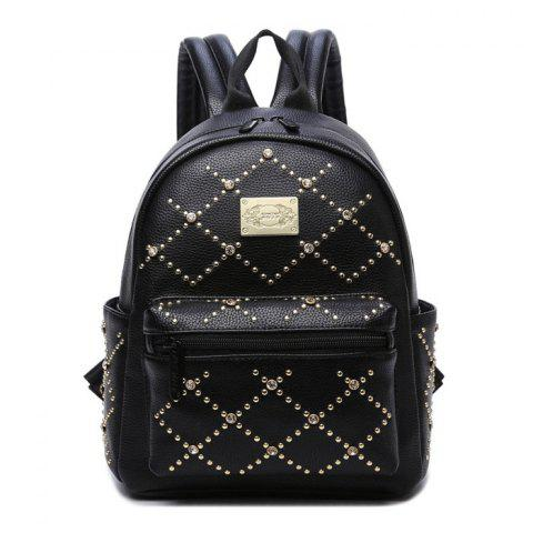 Hot Fuax Leather Rhinestone Rivet Backpack BLACK
