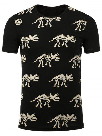 Fashion Dinosaur Skeleton Print Tee - L BLACK Mobile