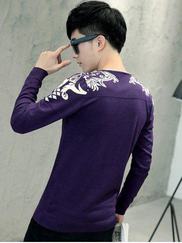 Shop Jacquard Long Sleeve Knitwear - L PURPLE Mobile