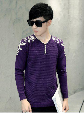 Trendy Jacquard Long Sleeve Knitwear - L PURPLE Mobile